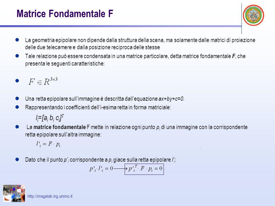 http://imagelab.ing.unimo.it Matrice Fondamentale F La geometria epipolare non dipende dalla struttura della scena, ma solamente dalle matrici di proi