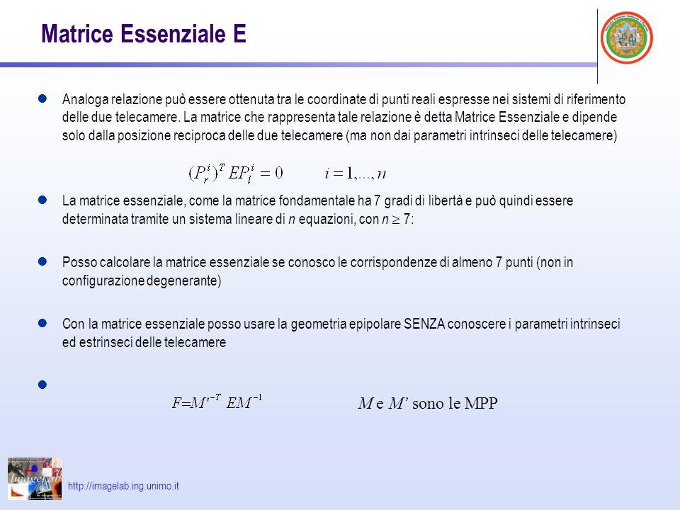 http://imagelab.ing.unimo.it Matrice Essenziale E Analoga relazione può essere ottenuta tra le coordinate di punti reali espresse nei sistemi di rifer
