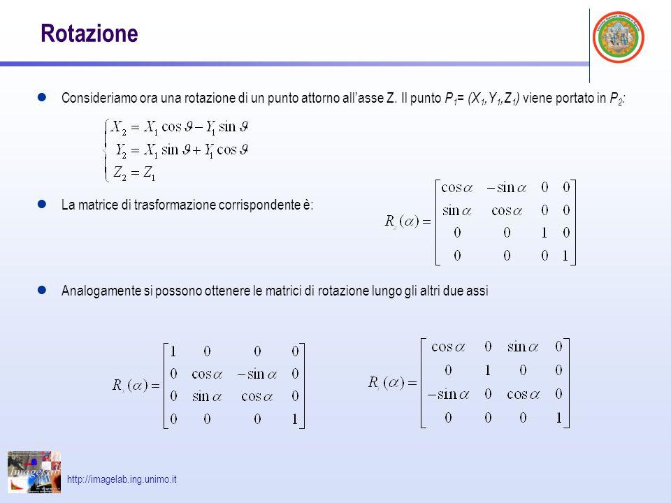 http://imagelab.ing.unimo.it Trasformazioni composte E' possibile ottenere trasformazioni composte mediante il prodotto di trasformazioni elementari T c = T 4 · T 3 · T 2 · T 1 ATTENZIONE all'ordine delle trasformazioni Vengono applicate a partire da quella più a destra P 2 = T c · P 1 = T 4 · T 3 · T 2 · T 1 · P 1 = T 4 ·( T 3 ·( T 2 ·( T 1 · P 1 ))) Matematicamente, infatti, si può dimostrare facilmente in quanto il prodotto tra matrici, non è commutativo.
