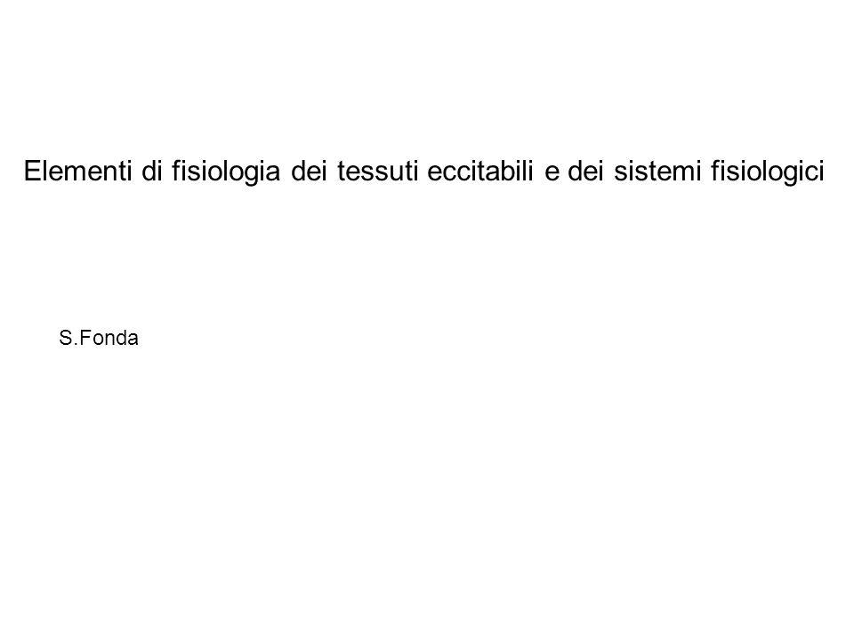 Elementi di fisiologia dei tessuti eccitabili e dei sistemi fisiologici S.Fonda