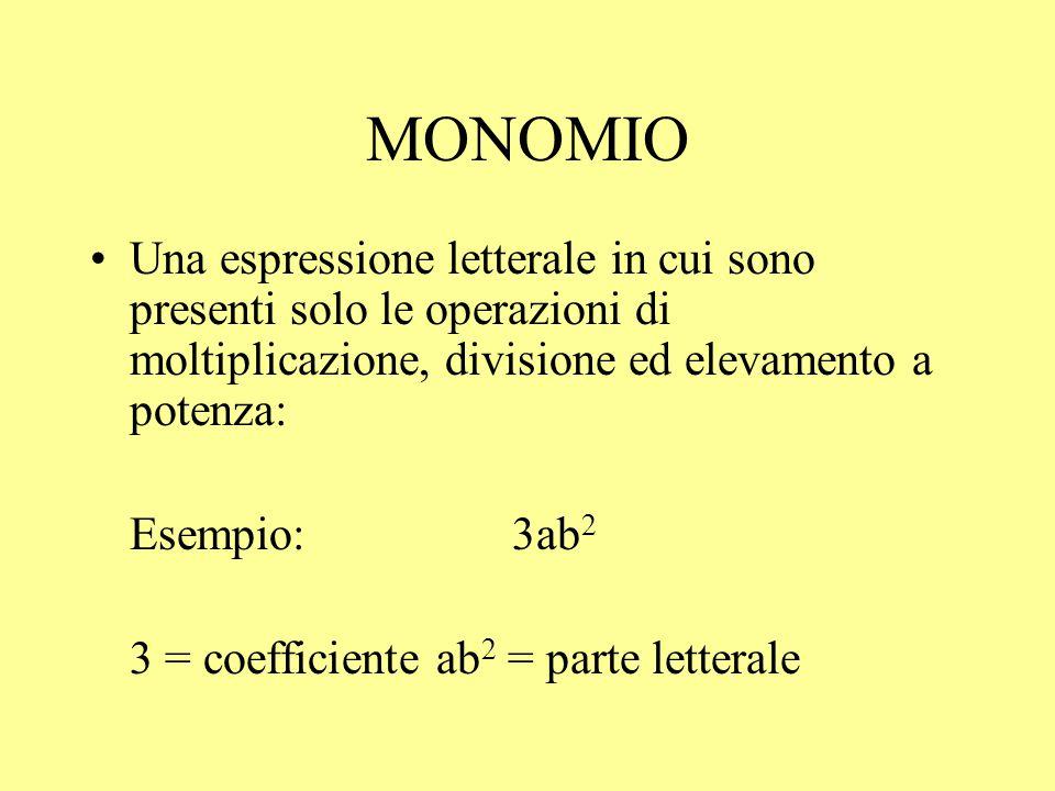 MONOMIO Una espressione letterale in cui sono presenti solo le operazioni di moltiplicazione, divisione ed elevamento a potenza: Esempio:3ab 2 3 = coe