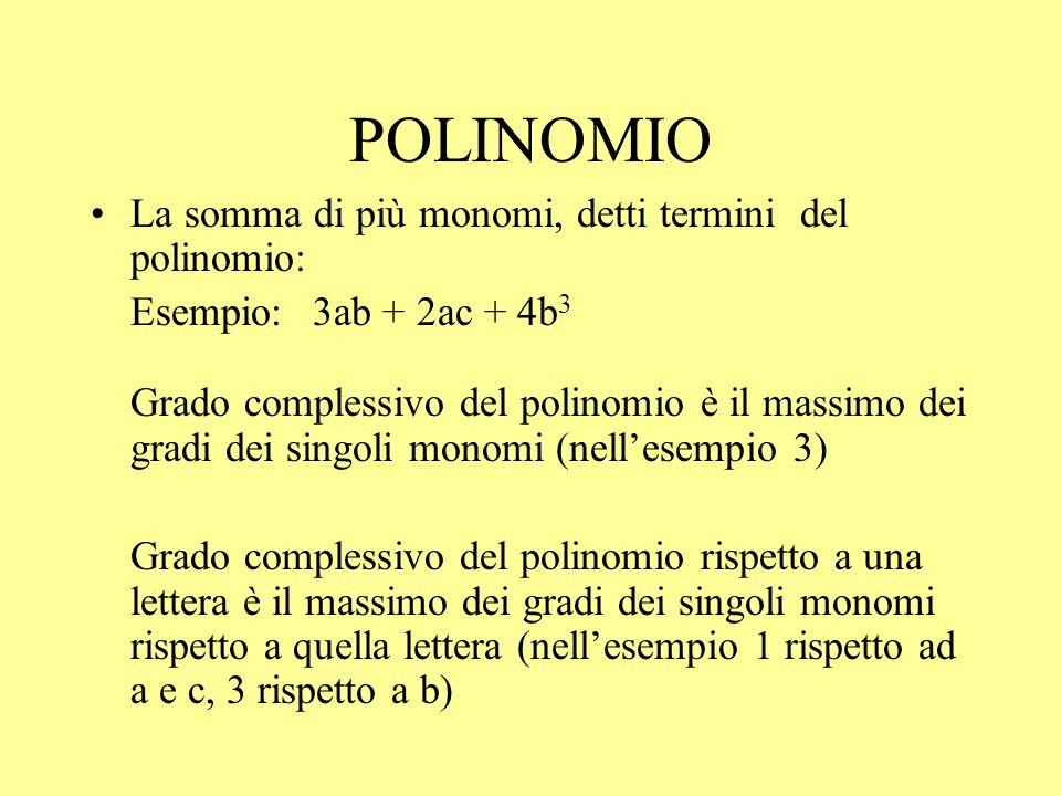 POLINOMIO La somma di più monomi, detti termini del polinomio: Esempio: 3ab + 2ac + 4b 3 Grado complessivo del polinomio è il massimo dei gradi dei si