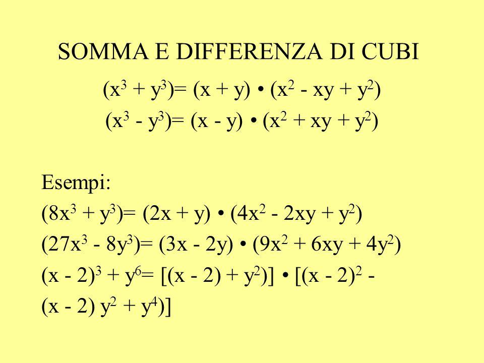 SOMMA E DIFFERENZA DI CUBI (x 3 + y 3 )= (x + y) (x 2 - xy + y 2 ) (x 3 - y 3 )= (x - y) (x 2 + xy + y 2 ) Esempi: (8x 3 + y 3 )= (2x + y) (4x 2 - 2xy