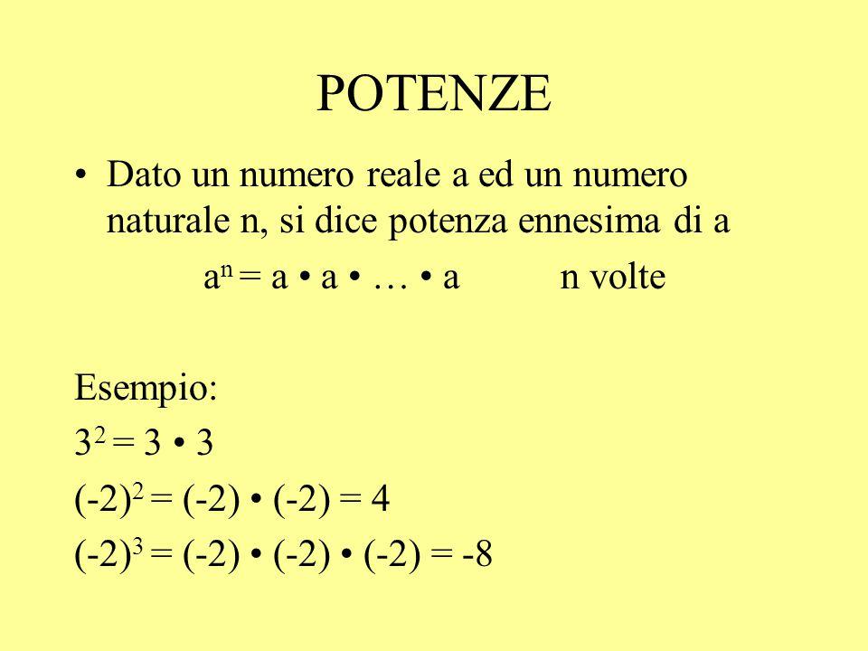POTENZE Dato un numero reale a ed un numero naturale n, si dice potenza ennesima di a a n = a a … a n volte Esempio: 3 2 = 3 3 (-2) 2 = (-2) (-2) = 4