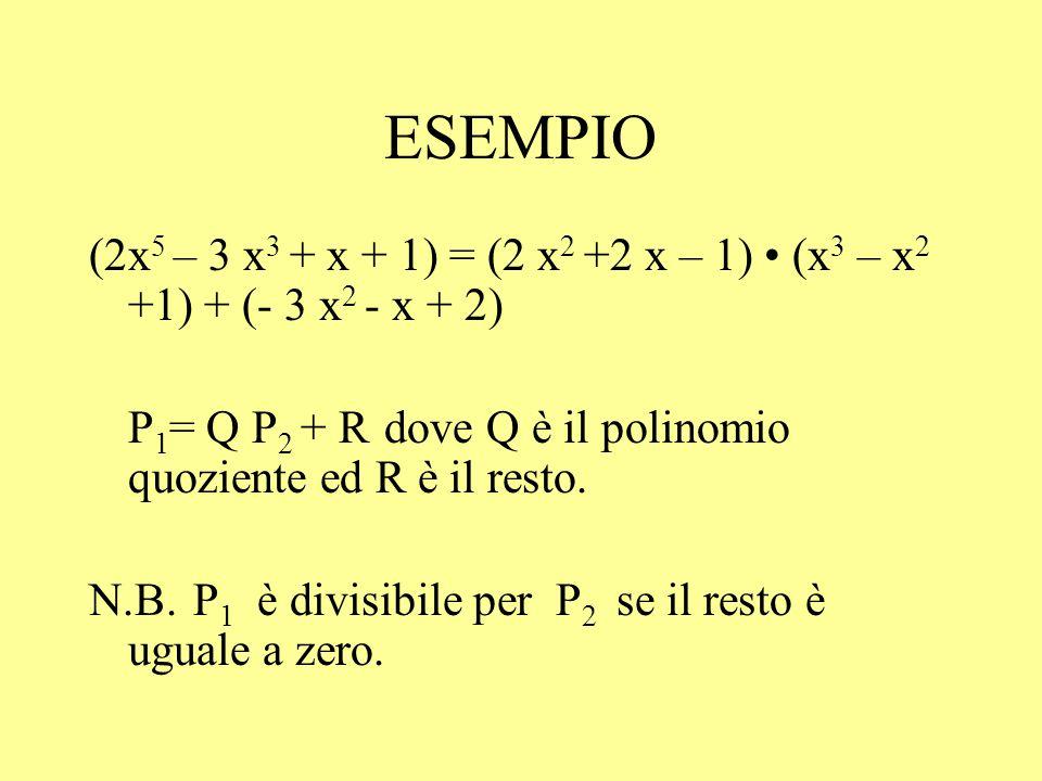 ESEMPIO (2x 5 – 3 x 3 + x + 1) = (2 x 2 +2 x – 1) (x 3 – x 2 +1) + (- 3 x 2 - x + 2) P 1 = Q P 2 + R dove Q è il polinomio quoziente ed R è il resto.