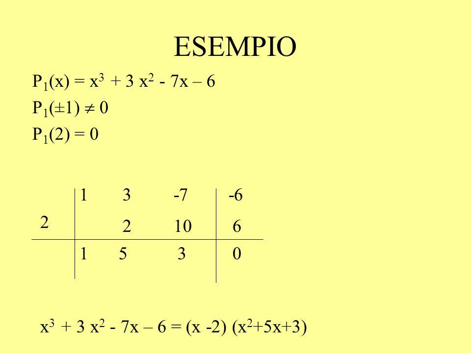 ESEMPIO x 3 + 3 x 2 - 7x – 6 = (x -2) (x 2 +5x+3) P 1 (x) = x 3 + 3 x 2 - 7x – 6 P 1 (±1)  0 P 1 (2) = 0 2 13-6-7 106 1530 2