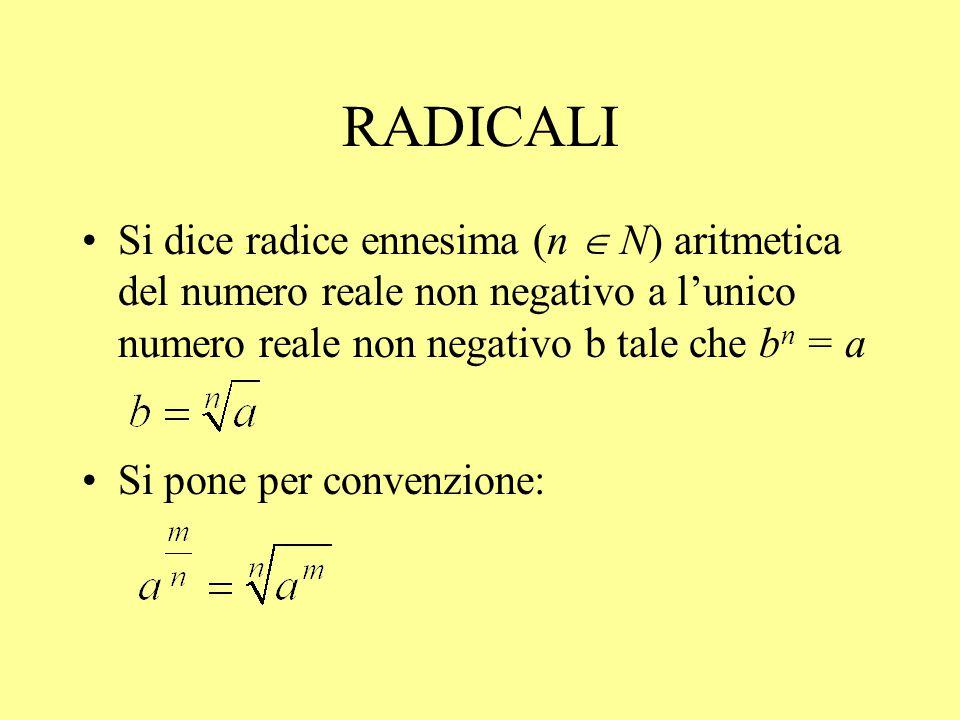RADICALI Si dice radice ennesima (n  N) aritmetica del numero reale non negativo a l'unico numero reale non negativo b tale che b n = a Si pone per c