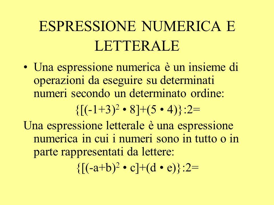 VALORE DI UNA ESPRESSIONE LETTERALE Esempio: se a = 1 b = 0 c = 1 a + 2b + 1/c = 2 N.B.