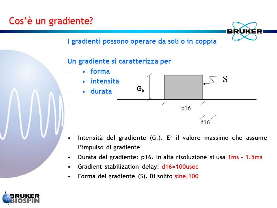 I gradienti possono operare da soli o in coppia Un gradiente si caratterizza per forma intensità durata Cos'è un gradiente? GkGk p16 S d16 Intensità d
