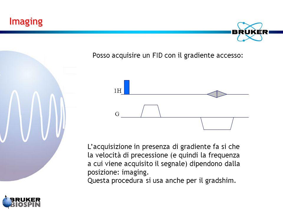 Posso acquisire un FID con il gradiente accesso: L'acquisizione in presenza di gradiente fa si che la velocità di precessione (e quindi la frequenza a cui viene acquisito il segnale) dipendono dalla posizione: imaging.