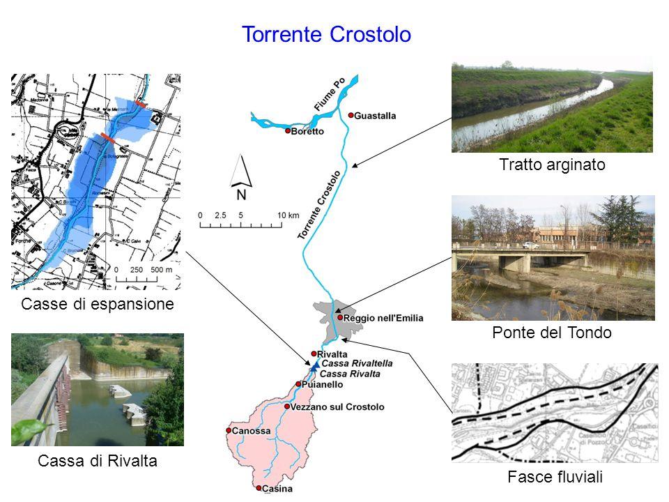 Torrente Crostolo Ponte del Tondo Tratto arginato Casse di espansione Fasce fluviali Cassa di Rivalta