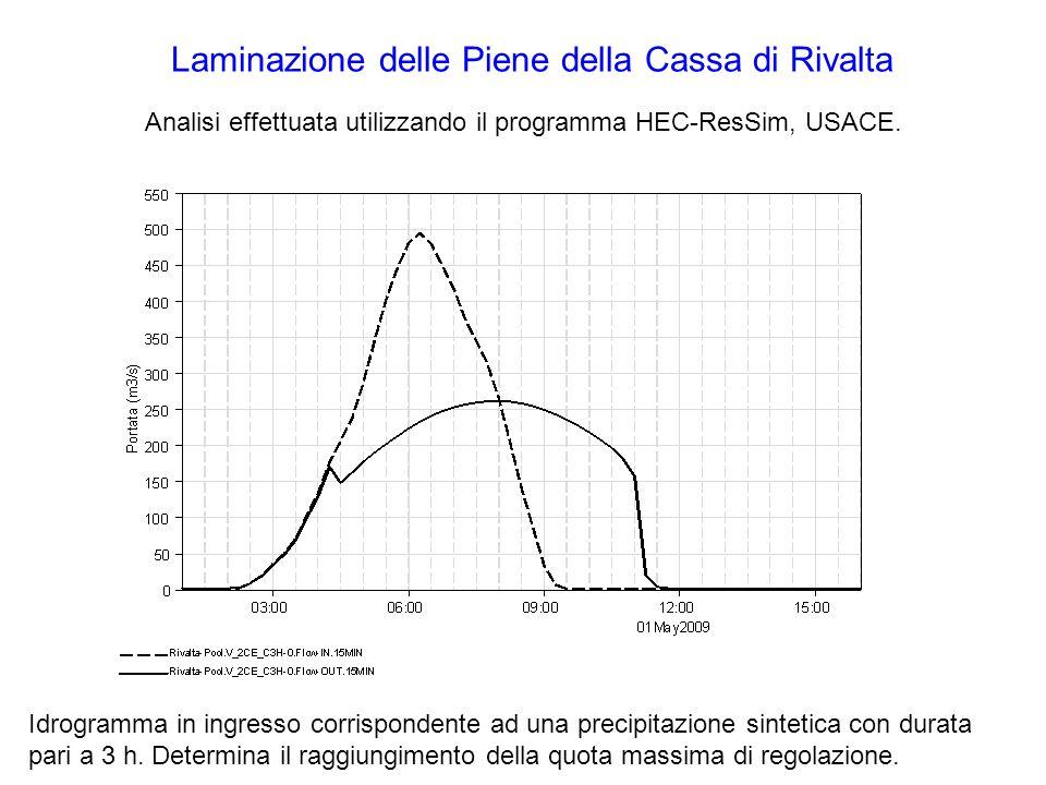 Laminazione delle Piene della Cassa di Rivalta Analisi effettuata utilizzando il programma HEC-ResSim, USACE.