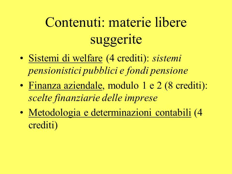 Contenuti: materie libere suggerite Sistemi di welfare (4 crediti): sistemi pensionistici pubblici e fondi pensione Finanza aziendale, modulo 1 e 2 (8 crediti): scelte finanziarie delle imprese Metodologia e determinazioni contabili (4 crediti)