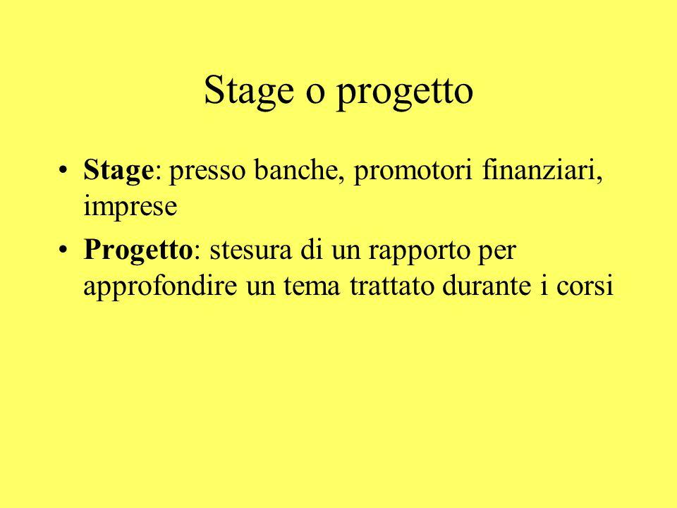Stage o progetto Stage: presso banche, promotori finanziari, imprese Progetto: stesura di un rapporto per approfondire un tema trattato durante i corsi