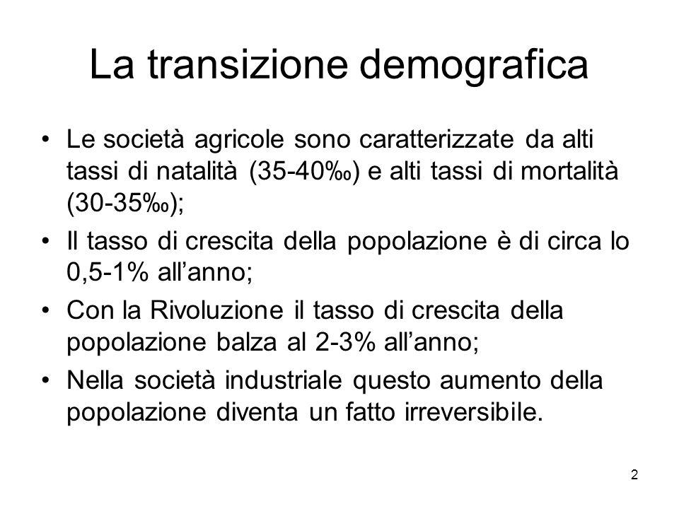 2 La transizione demografica Le società agricole sono caratterizzate da alti tassi di natalità (35-40‰) e alti tassi di mortalità (30-35‰); Il tasso d