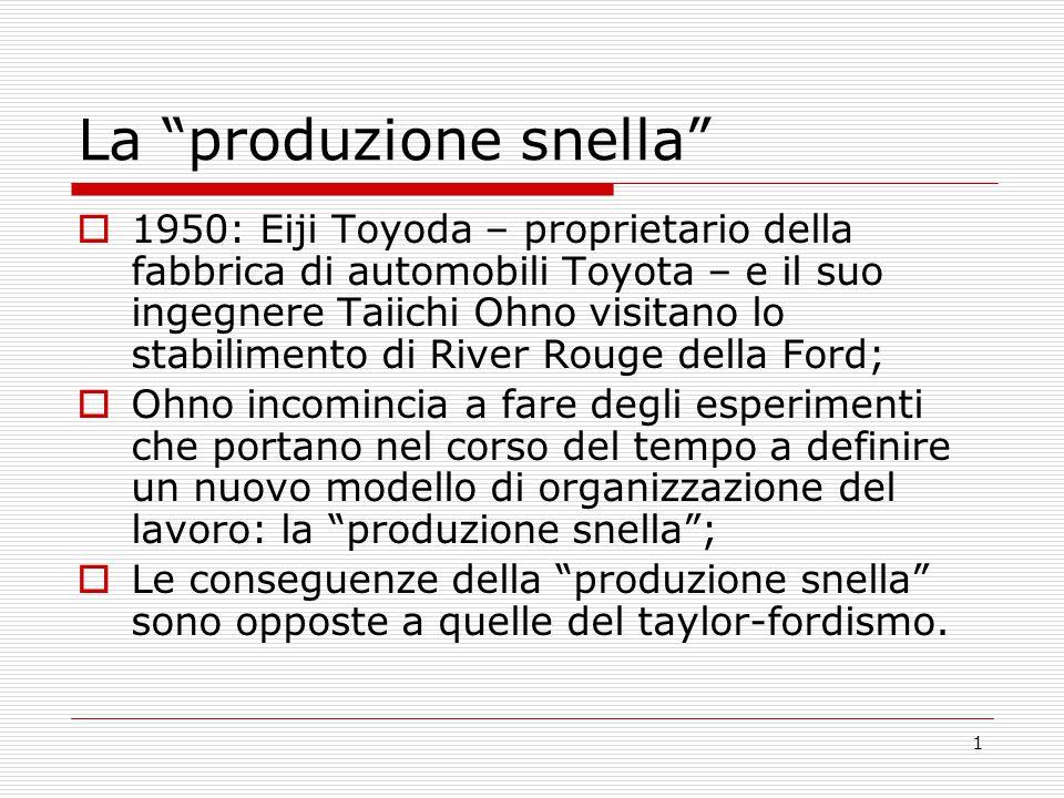 """1 La """"produzione snella""""  1950: Eiji Toyoda – proprietario della fabbrica di automobili Toyota – e il suo ingegnere Taiichi Ohno visitano lo stabilim"""