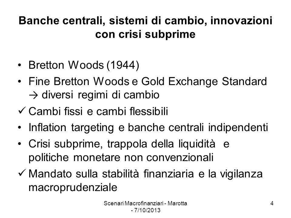 Scenari Macrofinanziari - Marotta - 7/10/2013 4 Banche centrali, sistemi di cambio, innovazioni con crisi subprime Bretton Woods (1944) Fine Bretton W