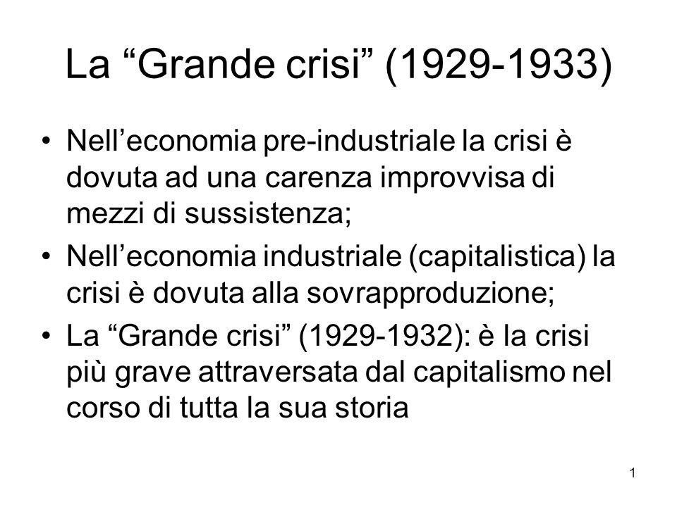 """1 La """"Grande crisi"""" (1929-1933) Nell'economia pre-industriale la crisi è dovuta ad una carenza improvvisa di mezzi di sussistenza; Nell'economia indus"""
