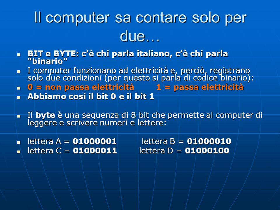 Il computer sa contare solo per due… BIT e BYTE: c'è chi parla italiano, c'è chi parla