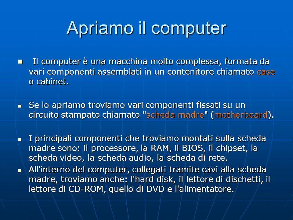 Apriamo il computer Il computer è una macchina molto complessa, formata da vari componenti assemblati in un contenitore chiamato case o cabinet. Il co
