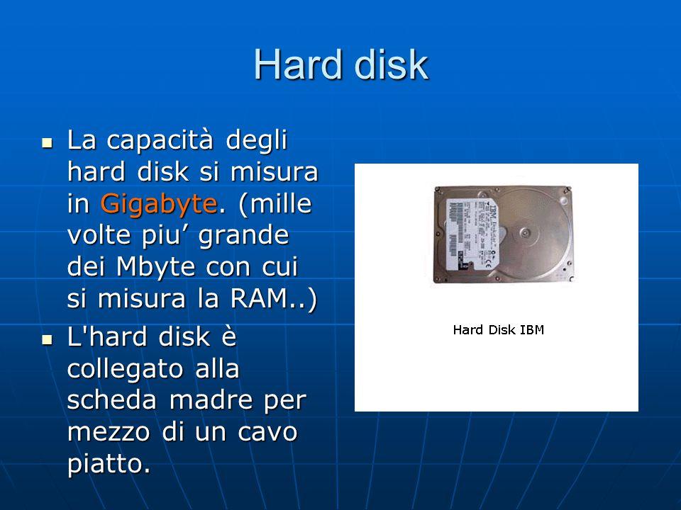 Hard disk La capacità degli hard disk si misura in Gigabyte. (mille volte piu' grande dei Mbyte con cui si misura la RAM..) La capacità degli hard dis