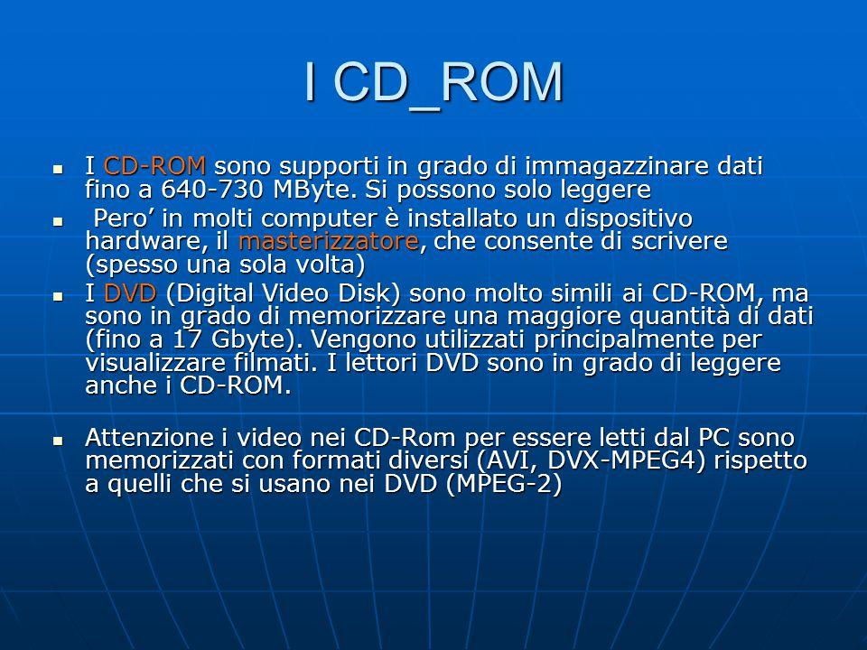 I CD_ROM I CD-ROM sono supporti in grado di immagazzinare dati fino a 640-730 MByte. Si possono solo leggere I CD-ROM sono supporti in grado di immaga