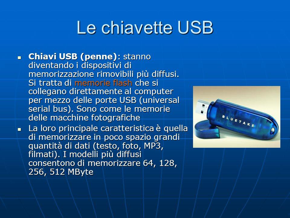 Le chiavette USB Chiavi USB (penne): stanno diventando i dispositivi di memorizzazione rimovibili più diffusi. Si tratta di memorie flash che si colle
