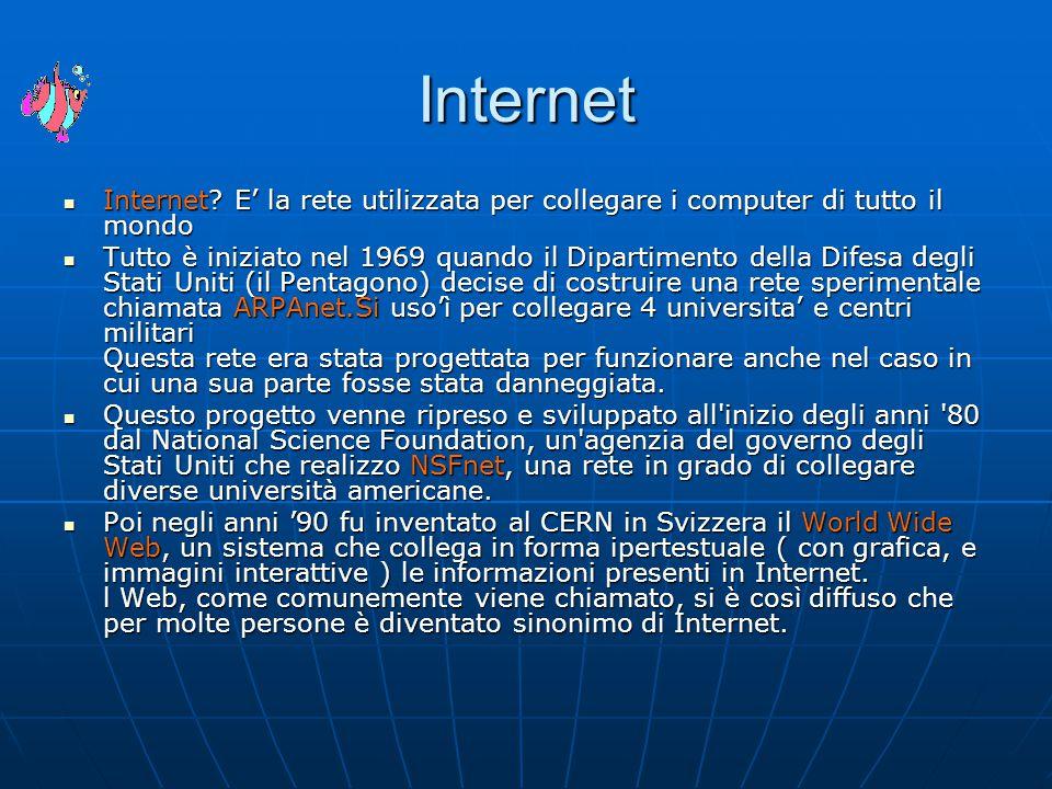 Internet Internet? E' la rete utilizzata per collegare i computer di tutto il mondo Internet? E' la rete utilizzata per collegare i computer di tutto