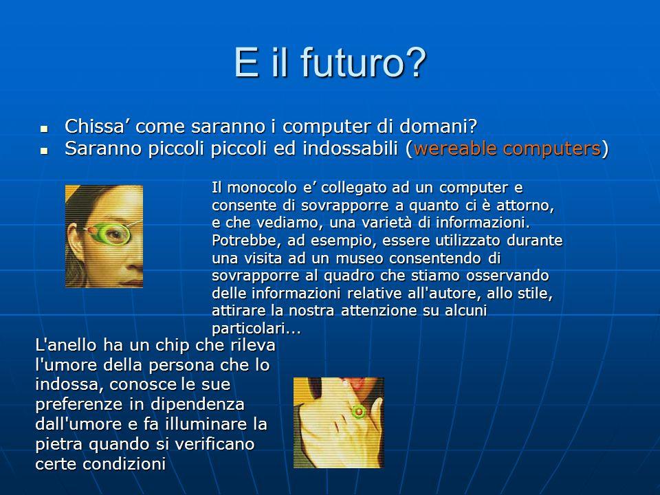 E il futuro? Chissa' come saranno i computer di domani? Chissa' come saranno i computer di domani? Saranno piccoli piccoli ed indossabili (wereable co