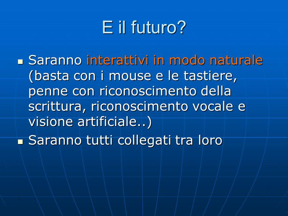 E il futuro? Saranno interattivi in modo naturale (basta con i mouse e le tastiere, penne con riconoscimento della scrittura, riconoscimento vocale e