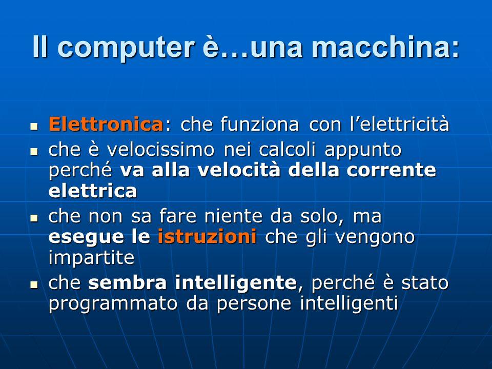 Il computer è…una macchina: Elettronica: che funziona con l'elettricità Elettronica: che funziona con l'elettricità che è velocissimo nei calcoli appu