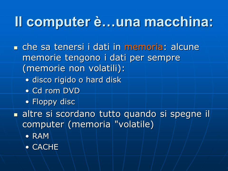 Il computer è…una macchina: che sa tenersi i dati in memoria: alcune memorie tengono i dati per sempre (memorie non volatili): che sa tenersi i dati i