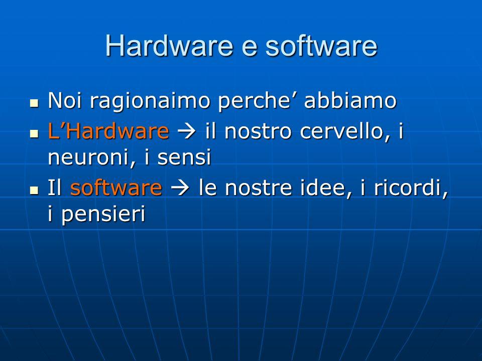Hardware e software Noi ragionaimo perche' abbiamo Noi ragionaimo perche' abbiamo L'Hardware  il nostro cervello, i neuroni, i sensi L'Hardware  il