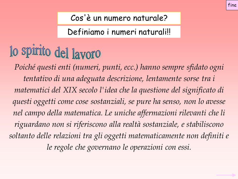 Cos'è un numero naturale? Definiamo i numeri naturali!! Poiché questi enti (numeri, punti, ecc.) hanno sempre sfidato ogni tentativo di una adeguata d