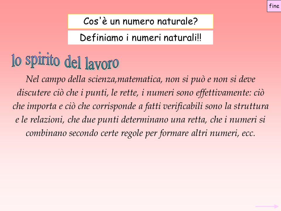 Assiomatica di Peano La definizione delle operazioni addizionemoltiplicazione Addizione + per ogni coppia (a,b) di numeri naturali associa il numero naturale a + b in modo che valgano le due proprietà seguenti: a + 0 = a a + Sc(b) = Sc(a + b) fine