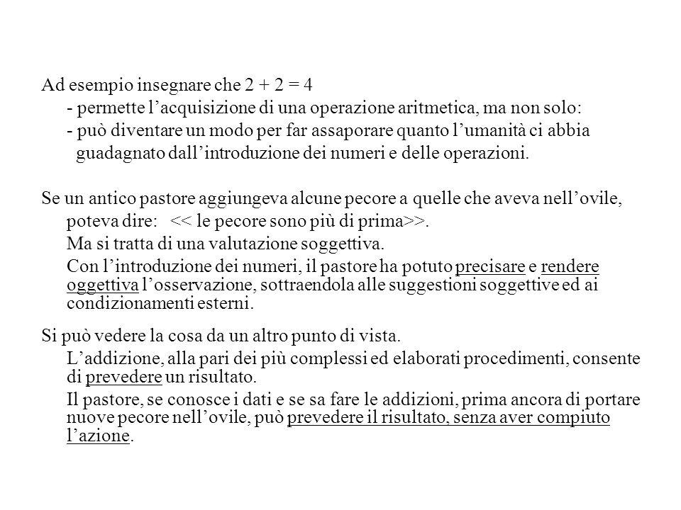 Ad esempio insegnare che 2 + 2 = 4 - permette l'acquisizione di una operazione aritmetica, ma non solo: - può diventare un modo per far assaporare qua