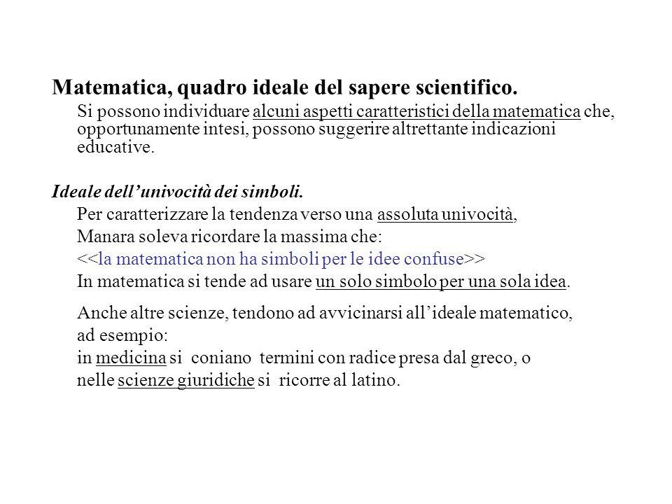 Matematica, quadro ideale del sapere scientifico. Si possono individuare alcuni aspetti caratteristici della matematica che, opportunamente intesi, po