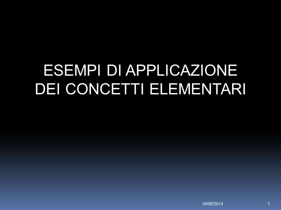 ESEMPI DI APPLICAZIONE DEI CONCETTI ELEMENTARI 16/08/2014 1