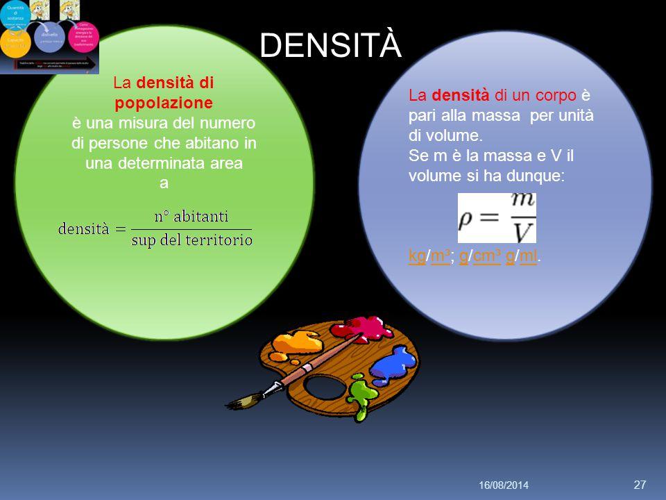DENSITÀ La densità di popolazione è una misura del numero di persone che abitano in una determinata area a La densità di un corpo è pari alla massa per unità di volume.