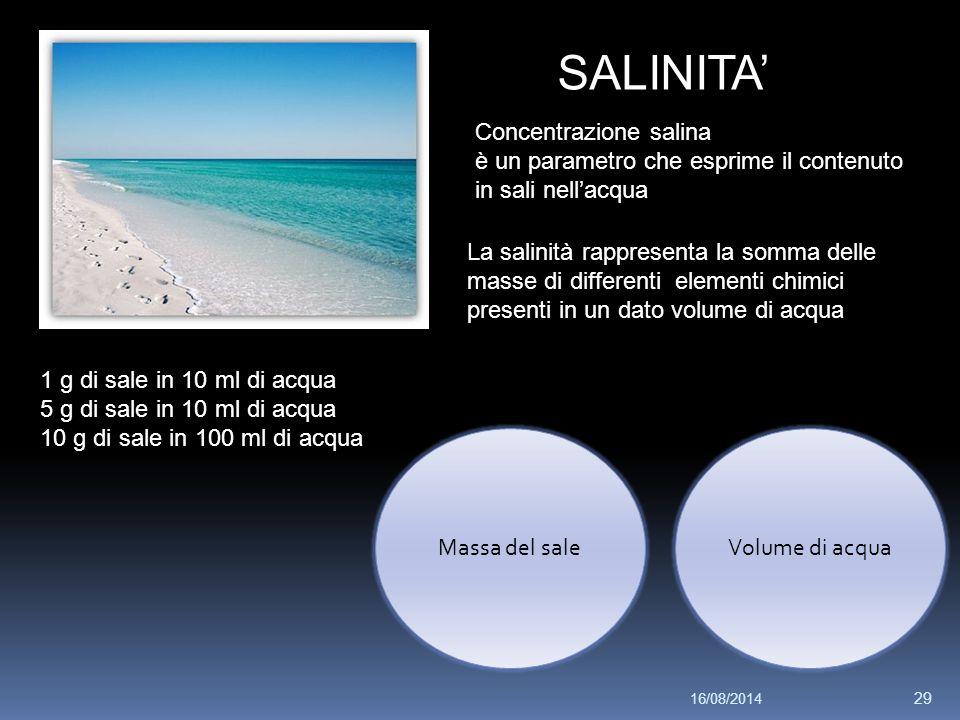 SALINITA' Concentrazione salina è un parametro che esprime il contenuto in sali nell'acqua La salinità rappresenta la somma delle masse di differenti elementi chimici presenti in un dato volume di acqua 1 g di sale in 10 ml di acqua 5 g di sale in 10 ml di acqua 10 g di sale in 100 ml di acqua Volume di acquaMassa del sale 16/08/2014 29