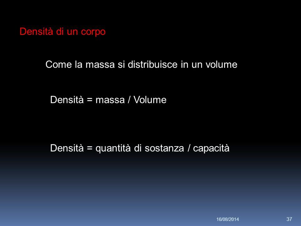 Densità di un corpo Come la massa si distribuisce in un volume Densità = massa / Volume Densità = quantità di sostanza / capacità 16/08/2014 37