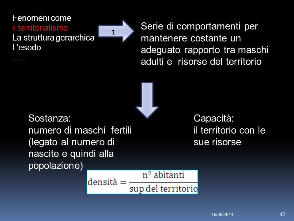 Fenomeni come il territorialismo La struttura gerarchica L'esodo ….. Serie di comportamenti per mantenere costante un adeguato rapporto tra maschi adu
