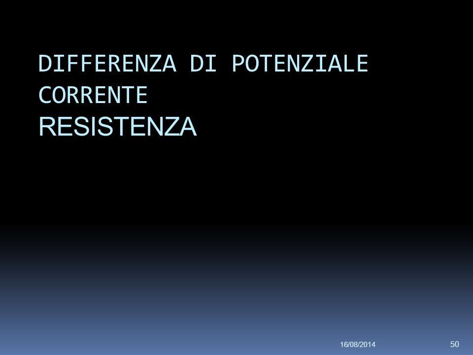 16/08/2014 50 DIFFERENZA DI POTENZIALE CORRENTE RESISTENZA