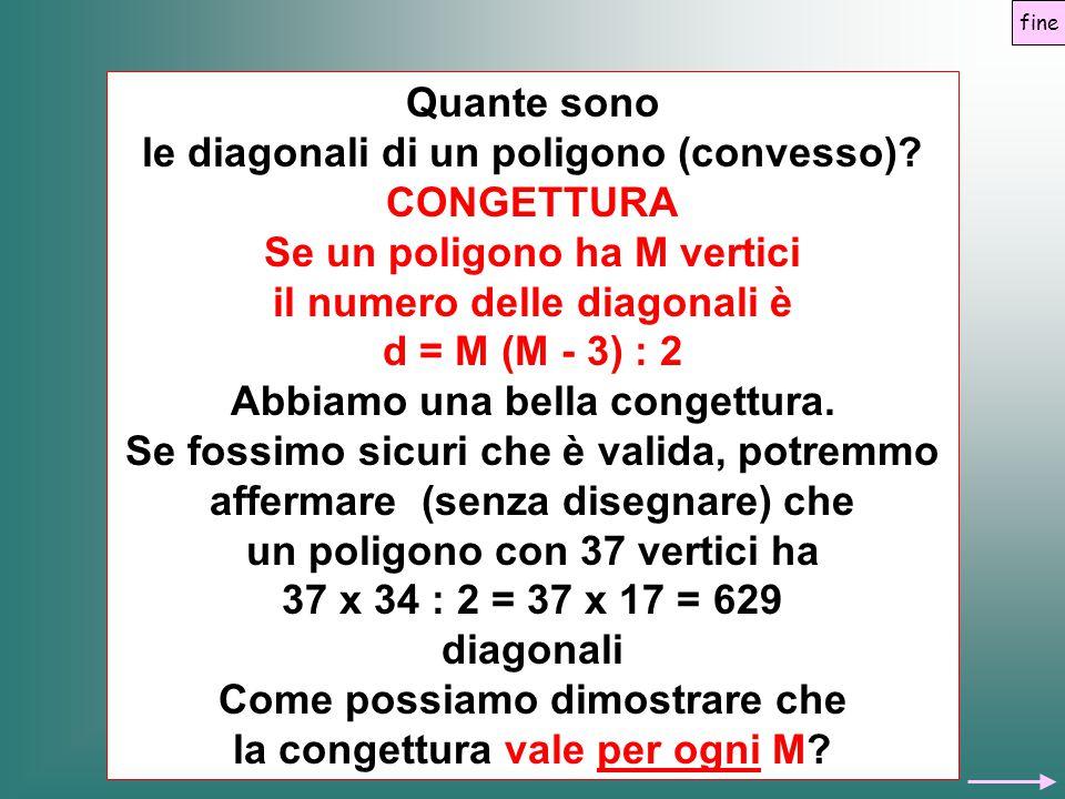 Quante sono le diagonali di un poligono (convesso)? CONGETTURA Se un poligono ha M vertici il numero delle diagonali è d = M (M - 3) : 2 Abbiamo una b