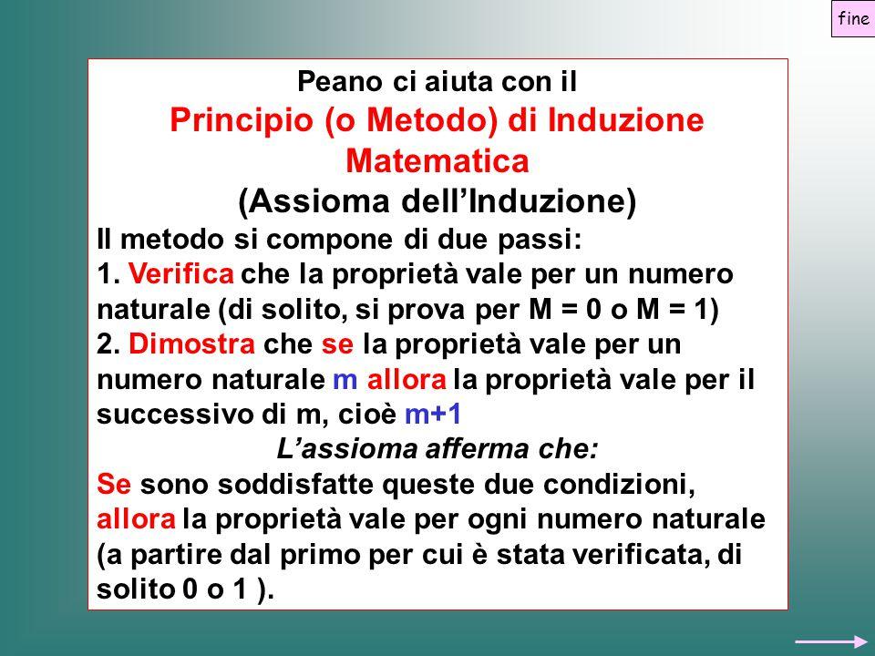 Peano ci aiuta con il Principio (o Metodo) di Induzione Matematica (Assioma dell'Induzione) Il metodo si compone di due passi: 1. Verifica che la prop