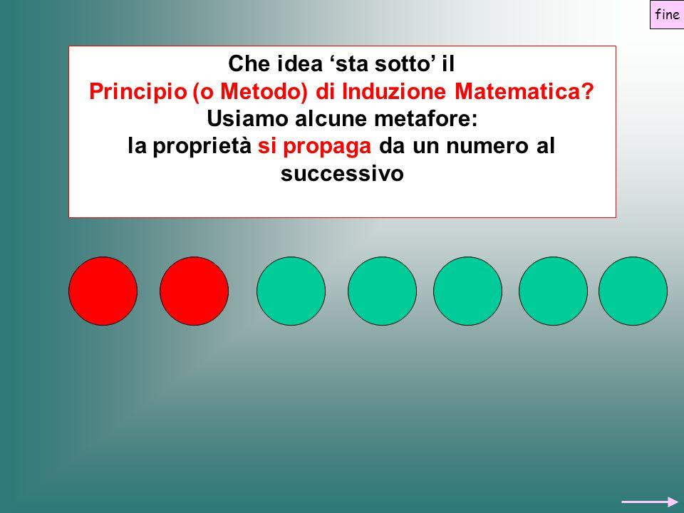 Che idea 'sta sotto' il Principio (o Metodo) di Induzione Matematica? Usiamo alcune metafore: la proprietà si propaga da un numero al successivo fine