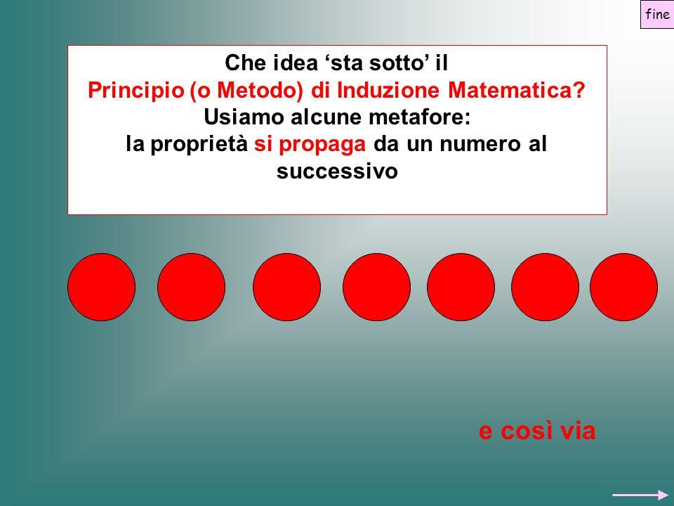 Che idea 'sta sotto' il Principio (o Metodo) di Induzione Matematica? Usiamo alcune metafore: la proprietà si propaga da un numero al successivo e cos