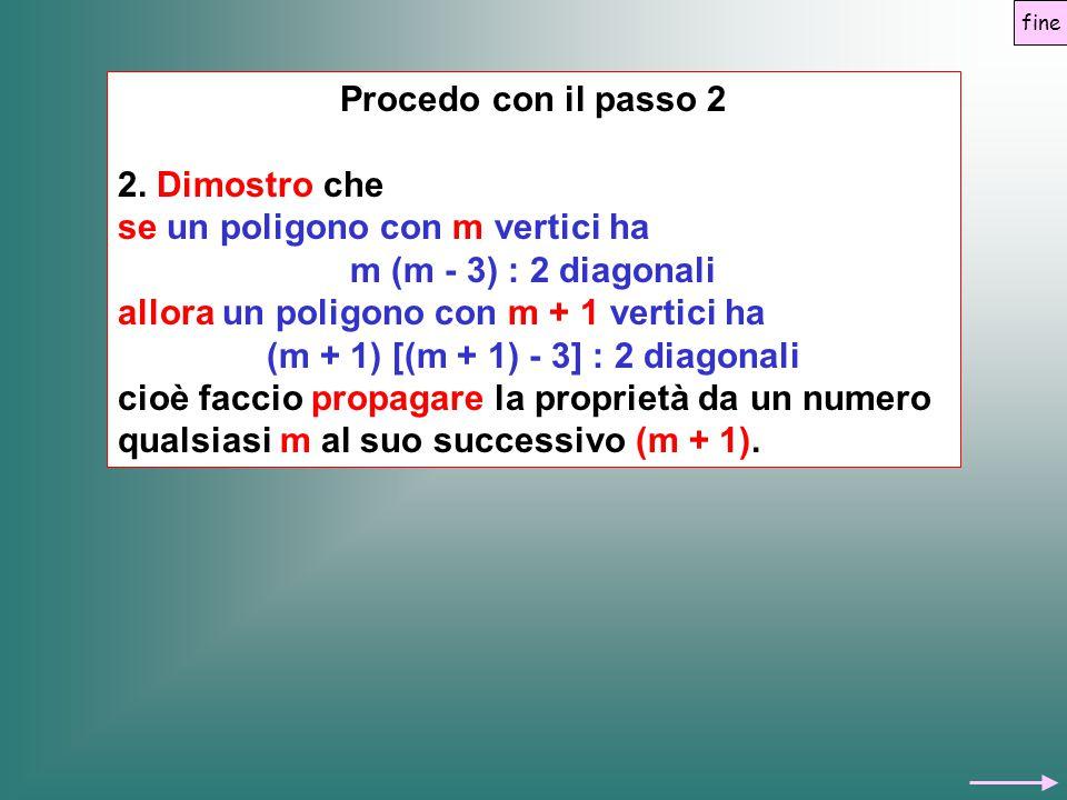 Procedo con il passo 2 2. Dimostro che se un poligono con m vertici ha m (m - 3) : 2 diagonali allora un poligono con m + 1 vertici ha (m + 1) [(m + 1
