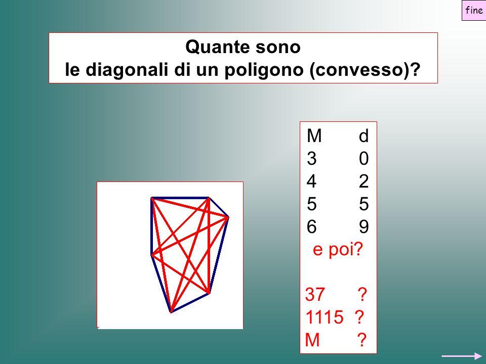 Quante sono le diagonali di un poligono (convesso)? M d 3 0 4 2 5 6 9 e poi? 37 ? 1115 ? M ? fine
