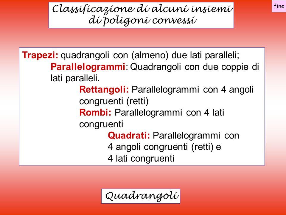 Classificazione di alcuni insiemi di poligoni convessi Quadrangoli Trapezi: quadrangoli con (almeno) due lati paralleli; Parallelogrammi: Quadrangoli con due coppie di lati paralleli.